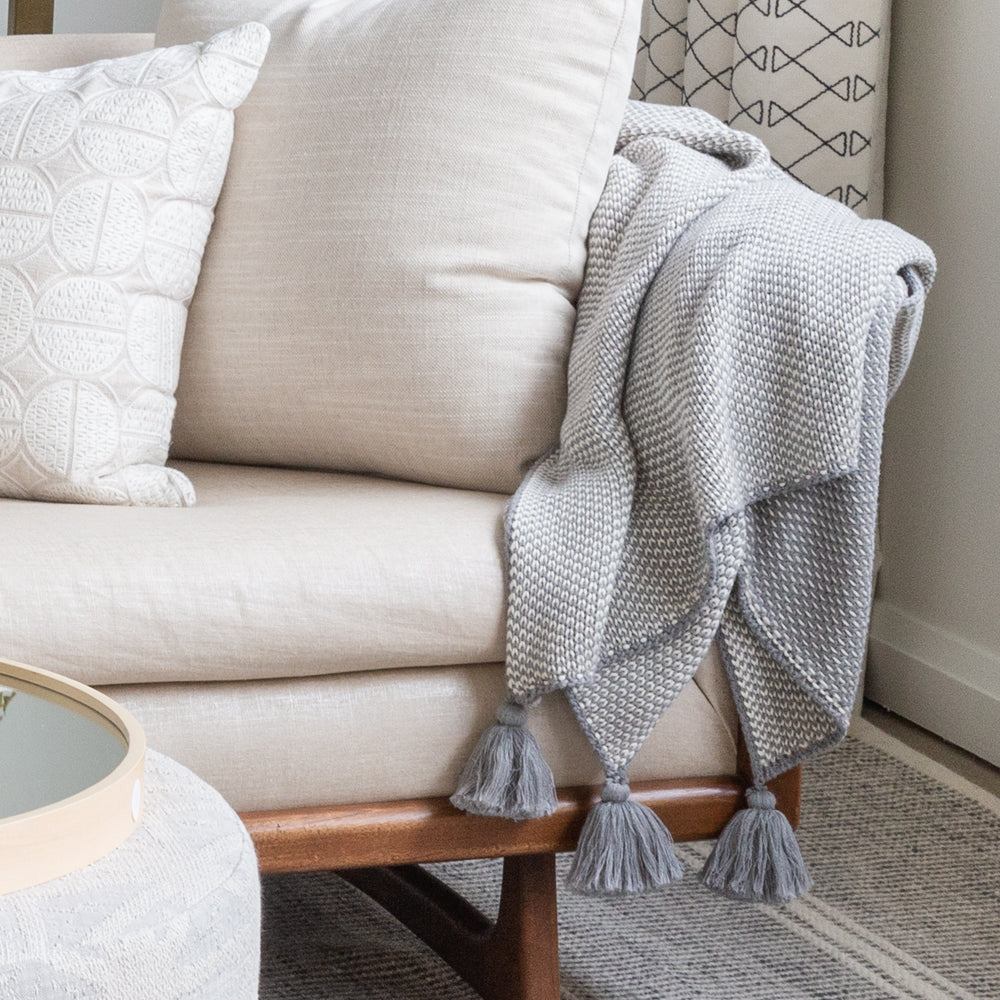 Lottie Tassel Throw, Soft Grey
