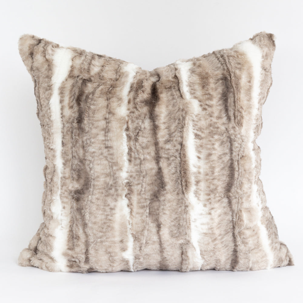 Lupa, a luxurious, beige and brown fake fur pillow from Tonic Living