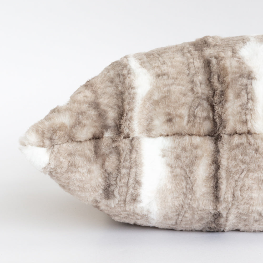 Lupa, a luxurious, beige and brown fake fur long pillow from Tonic Living
