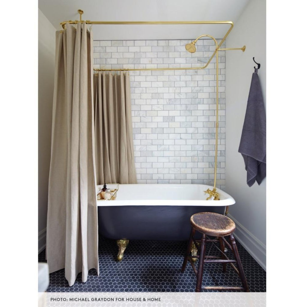 Mandy Milks bathroom with Tuscany Linen shower curtain