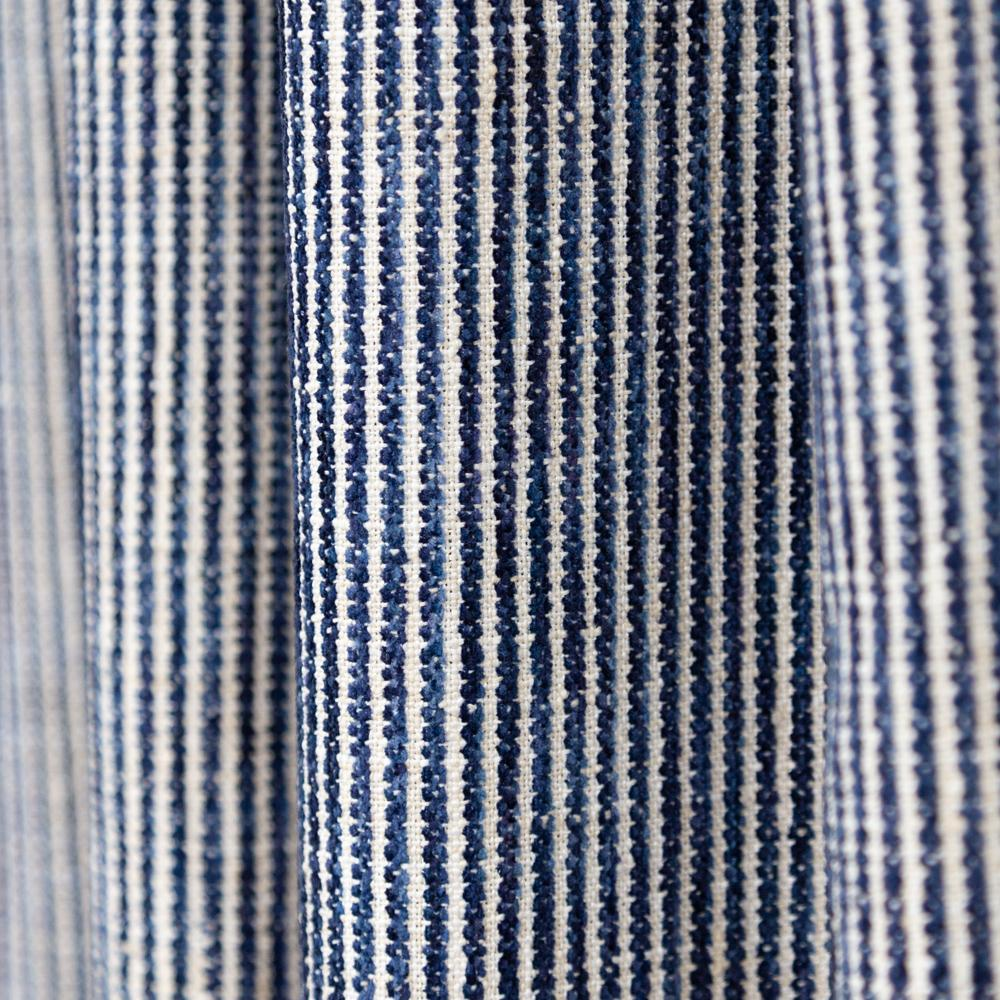Marklin ink blue and cream chenille stripe fabric from Tonic Living