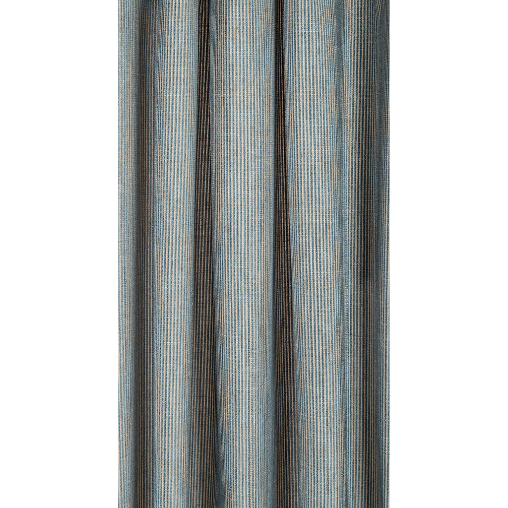 Marklin blue green and beige fine vertical stripe fabric from Tonic Living