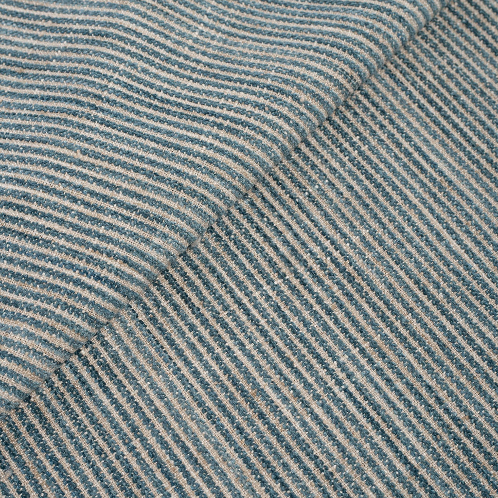 sea glass blue and light flax striped fabric