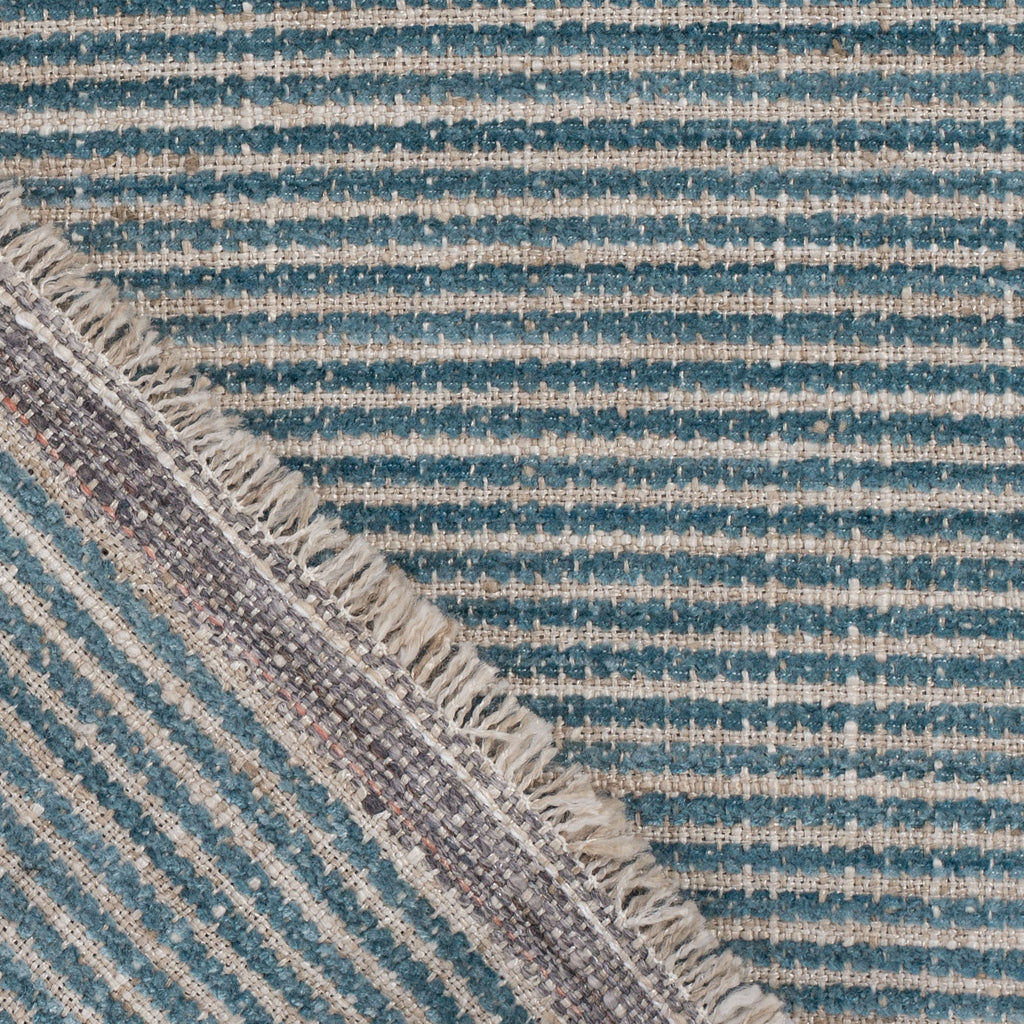 blue chenille stripe and beige fabric