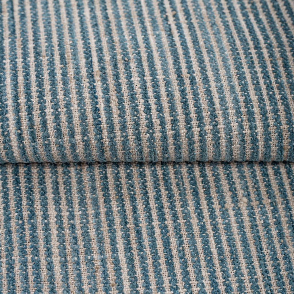 blue and beige chenille striped fabric