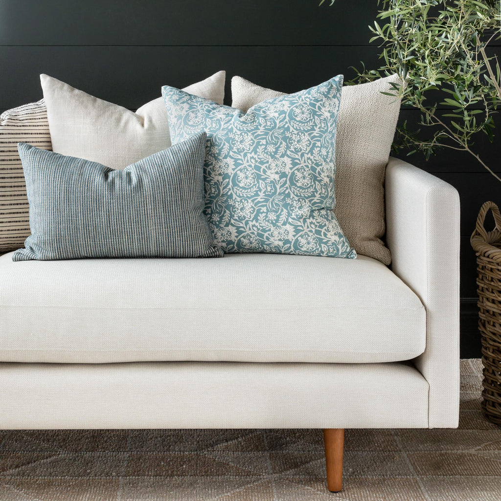 Marklin seaglass blue lumbar, Padma Aqua, Quinto Vanilla and Milly Cream pillow combination