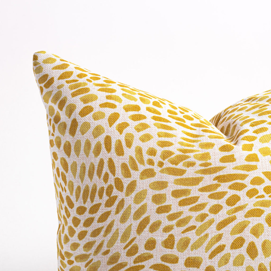 Mazzy yellow brush stroke print pillow from Tonic Living