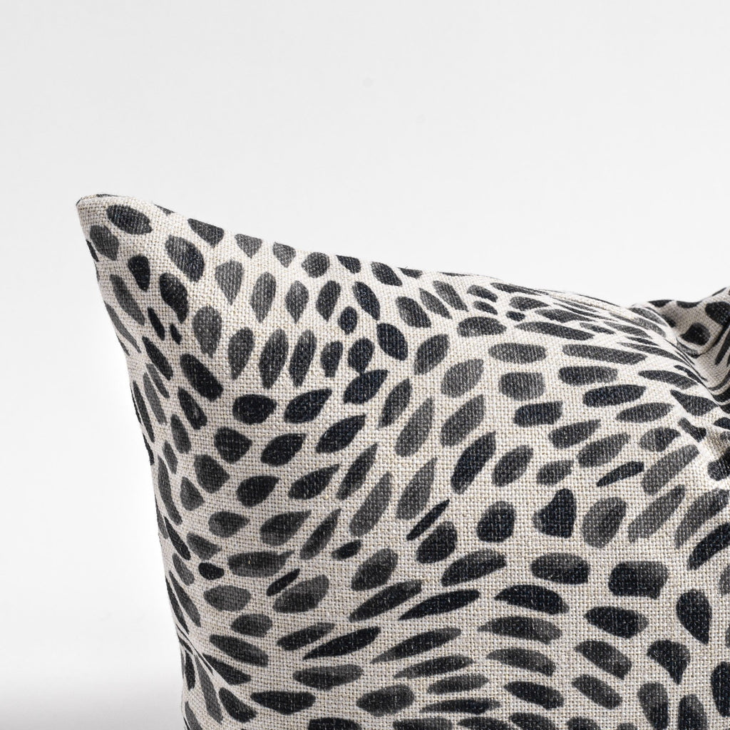 Mazzy black and white swirl print lumbar pillow from Tonic Living