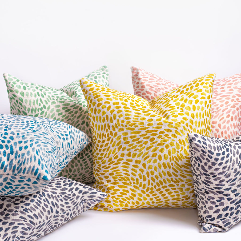 Mazzy, a colourful swirl print pillow collection from Tonic Living
