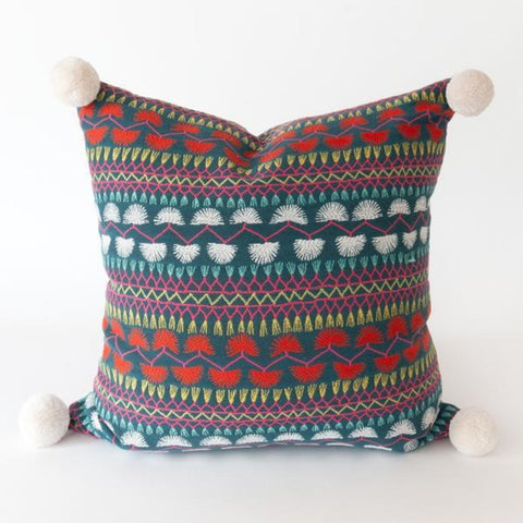 Mercado colorful boho pom pom pillow by Tonic Living