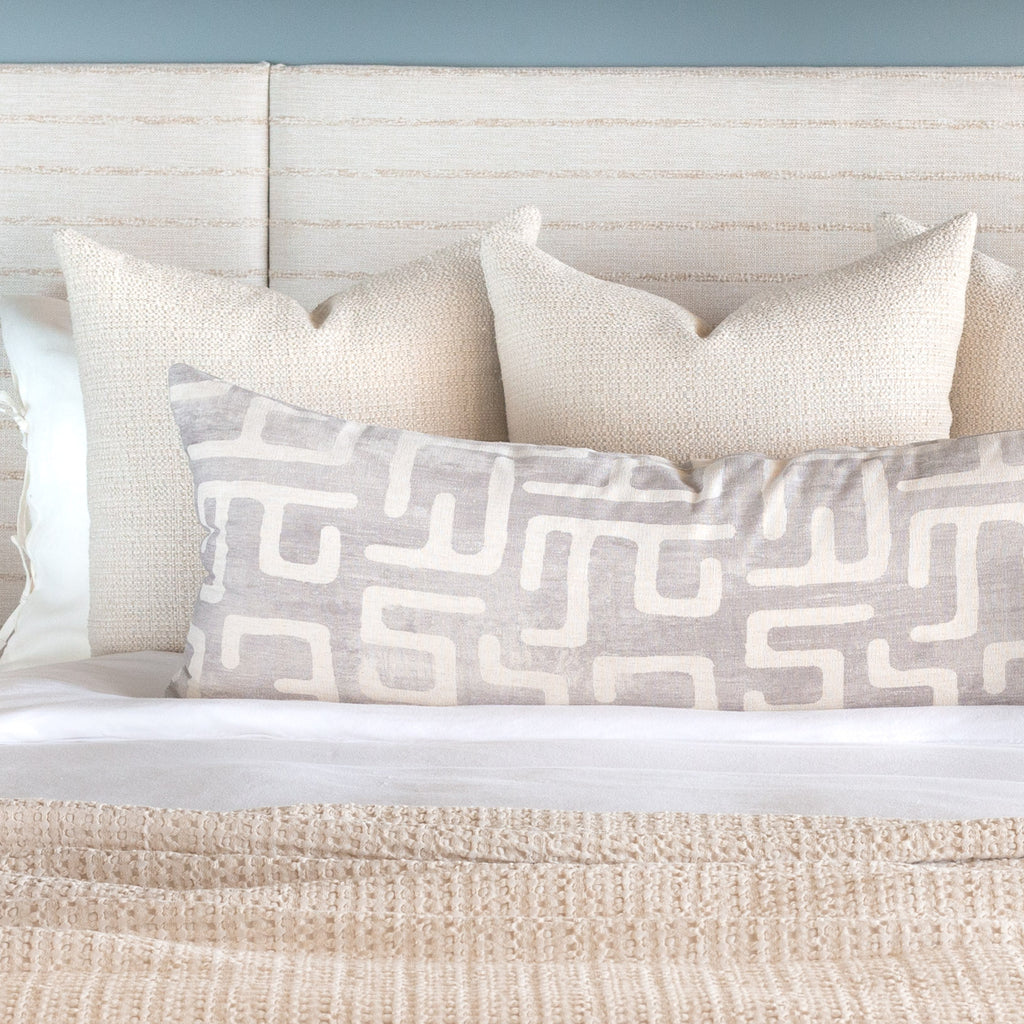 Bed pillow combination: Milly cream pillows with Karru silver gray bed bolster
