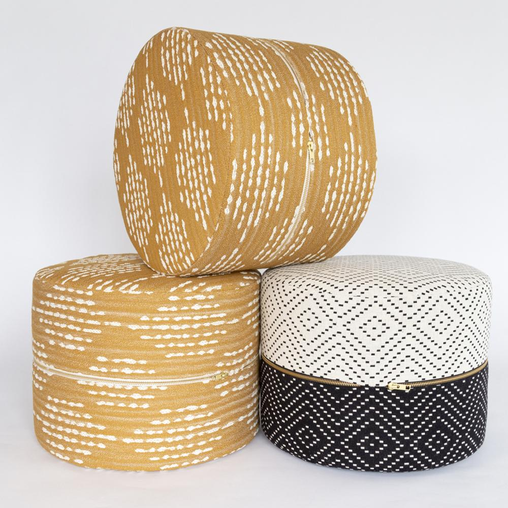 Ophelia Turmeric ochre yellow and Ava black and white mini ottomans from Tonic Living