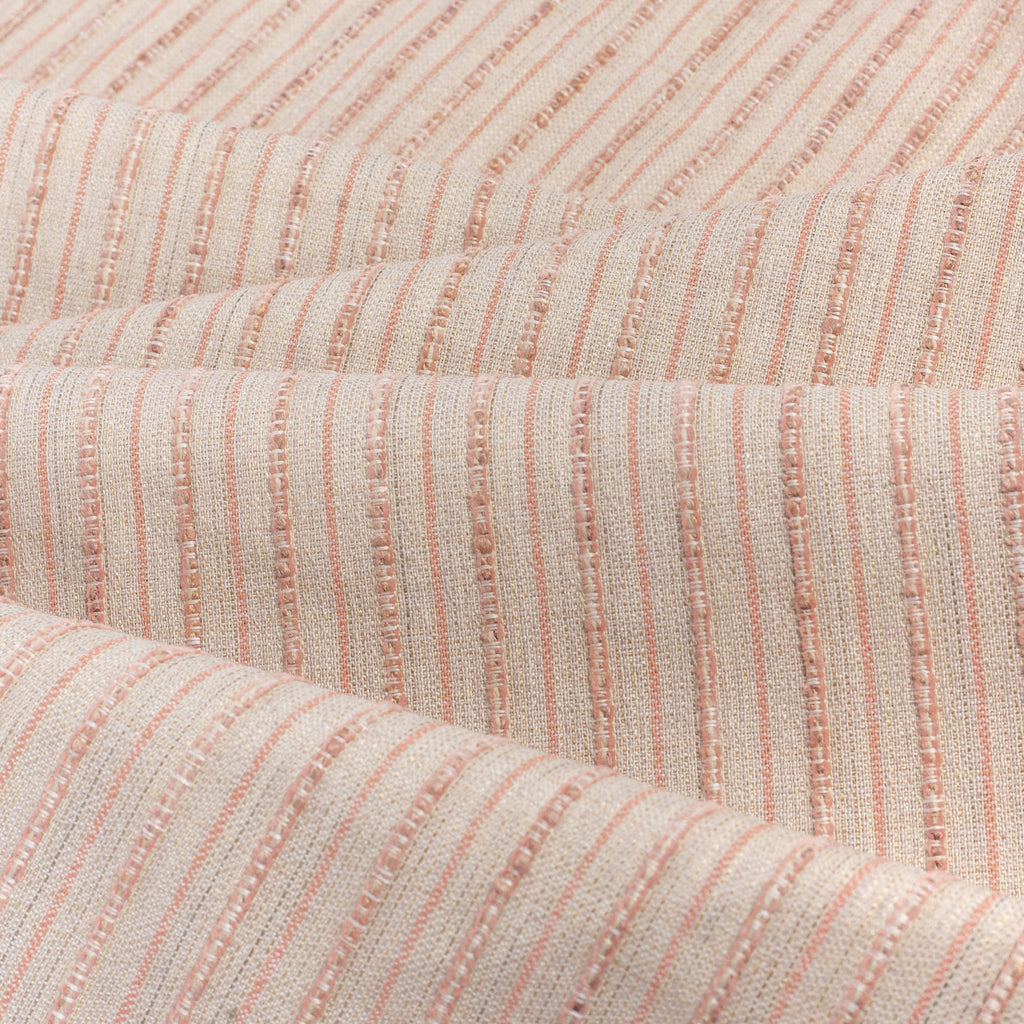 Misto Coral Blush, a light pink and light tan horizontal striped Crypton Home performance fabric : soft folds view