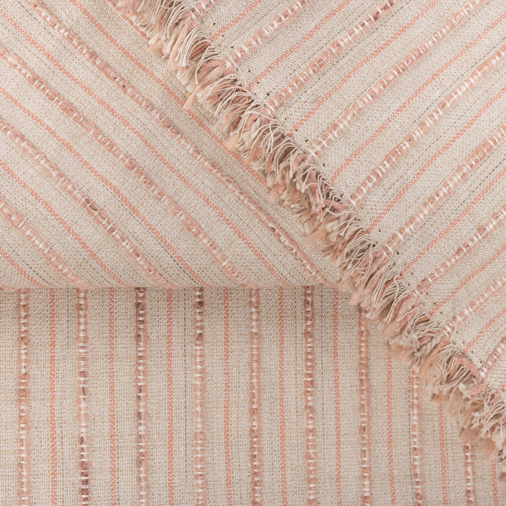 Misto Coral Blush, a light pink and light tan horizontal striped Crypton Home performance fabric : detail view