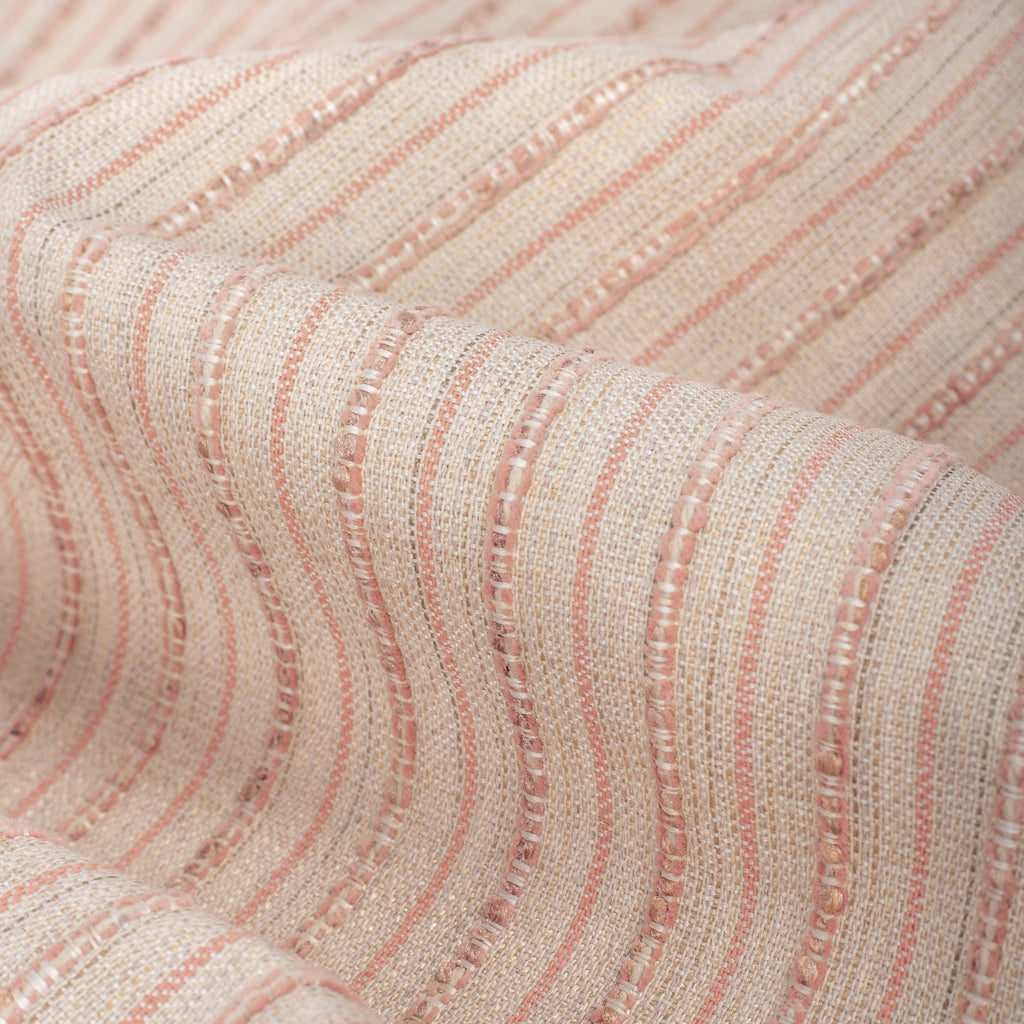 Misto Coral Blush, a light pink and light tan horizontal striped Crypton Home performance fabric : close up view
