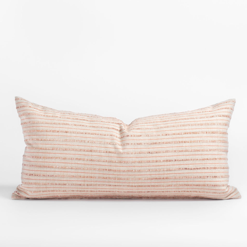 Misto Coral Blush 12x24 lumbar pillow, a light pink and tan textured stripe pillow