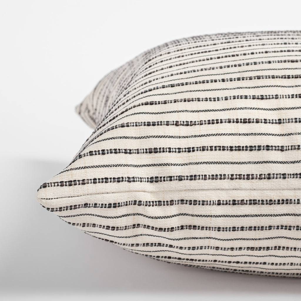 Misto Pillow Cream and Black, a cream and black textured stripe pillow : Close up side view