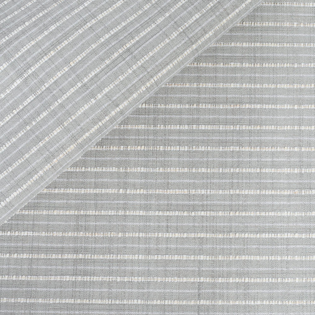 Misto Fog Grey, a cool gray and cream horizontal striped Crypton Home performance fabric