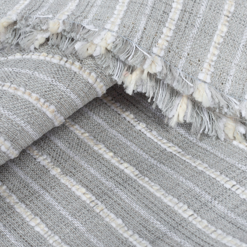 Misto Fog Grey, a cool gray and cream horizontal striped Crypton Home performance fabric: detail view