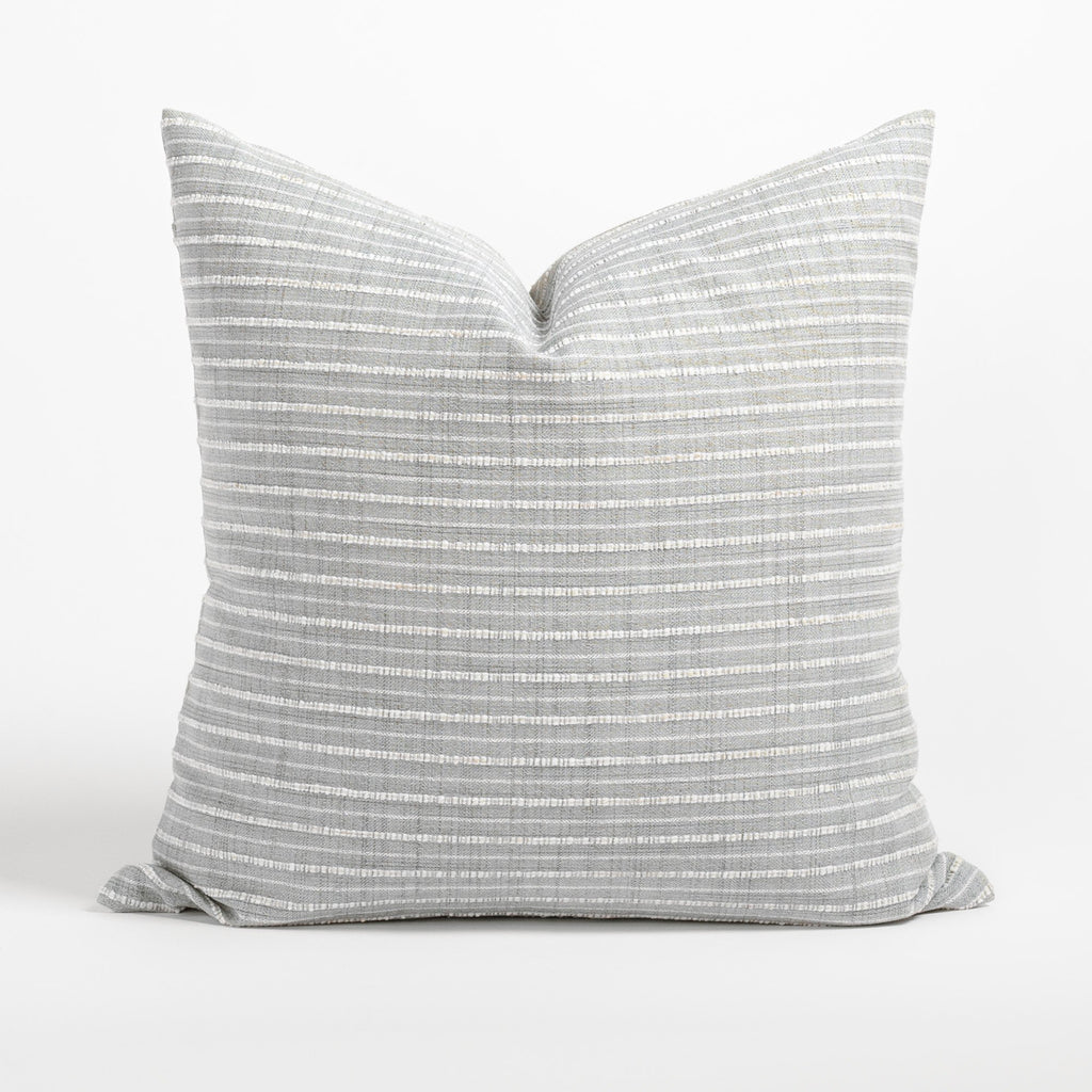 Misto 20x20 Pillow Fog, a light gray and cream textured stripe pillow from Tonic Living