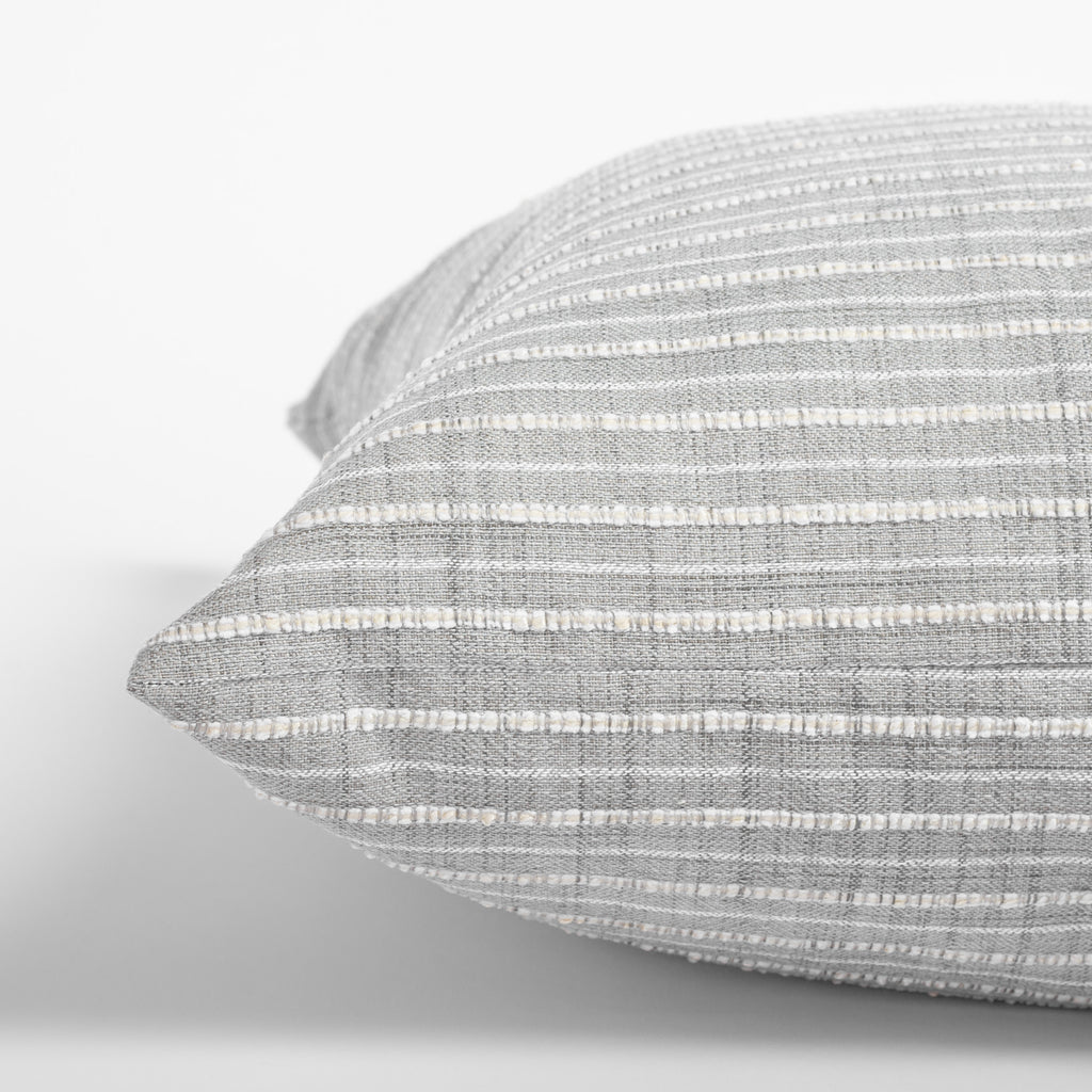 Misto Pillow Fog, a light gray and cream textured stripe pillow : close up side view