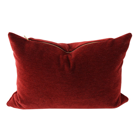 Moore Velvet, Pomegranate - This rich red velvet pillow is the perfect way to dress up your sofa for the holidays.