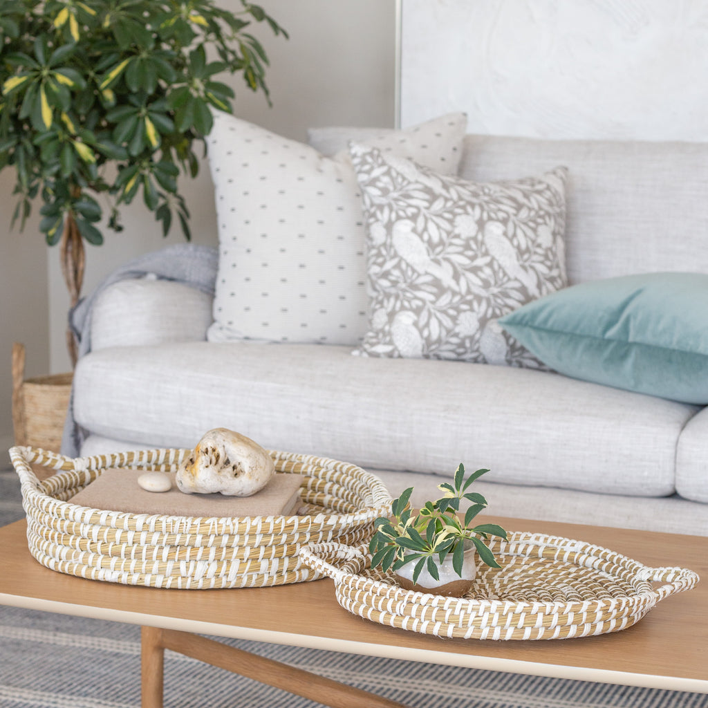 Natural and white straw nesting tray set wall decor from Tonic Living