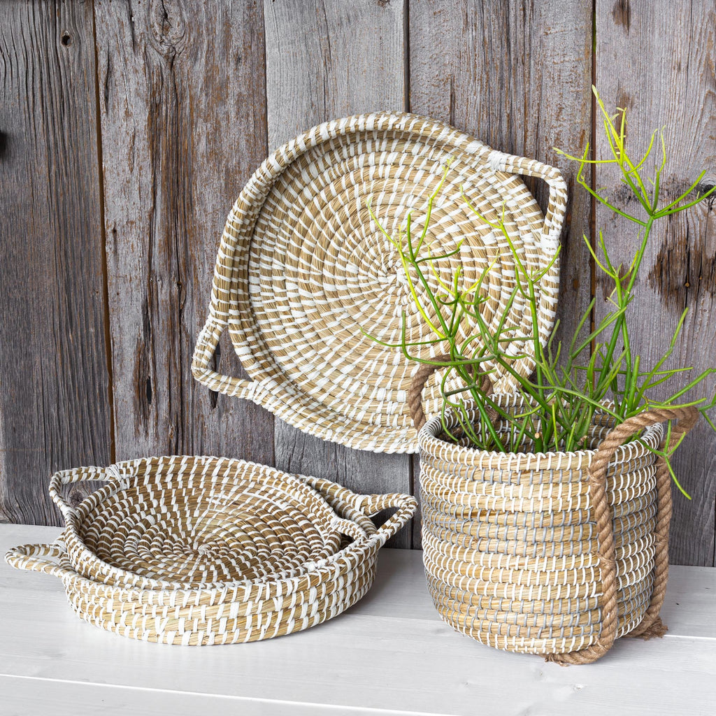 Natural grass coil basket and tray set from Tonic Living