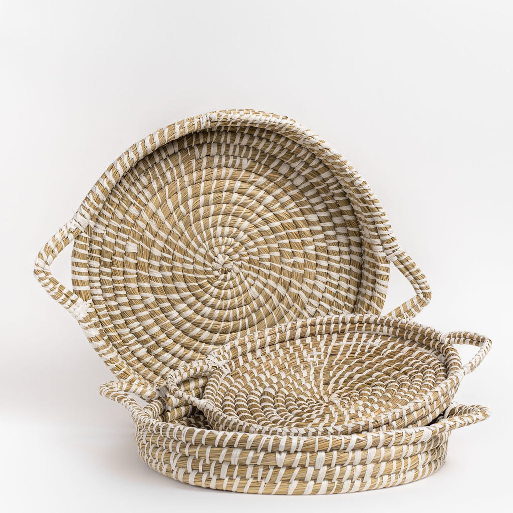 Naga natural and white straw nesting tray set from Tonic Living