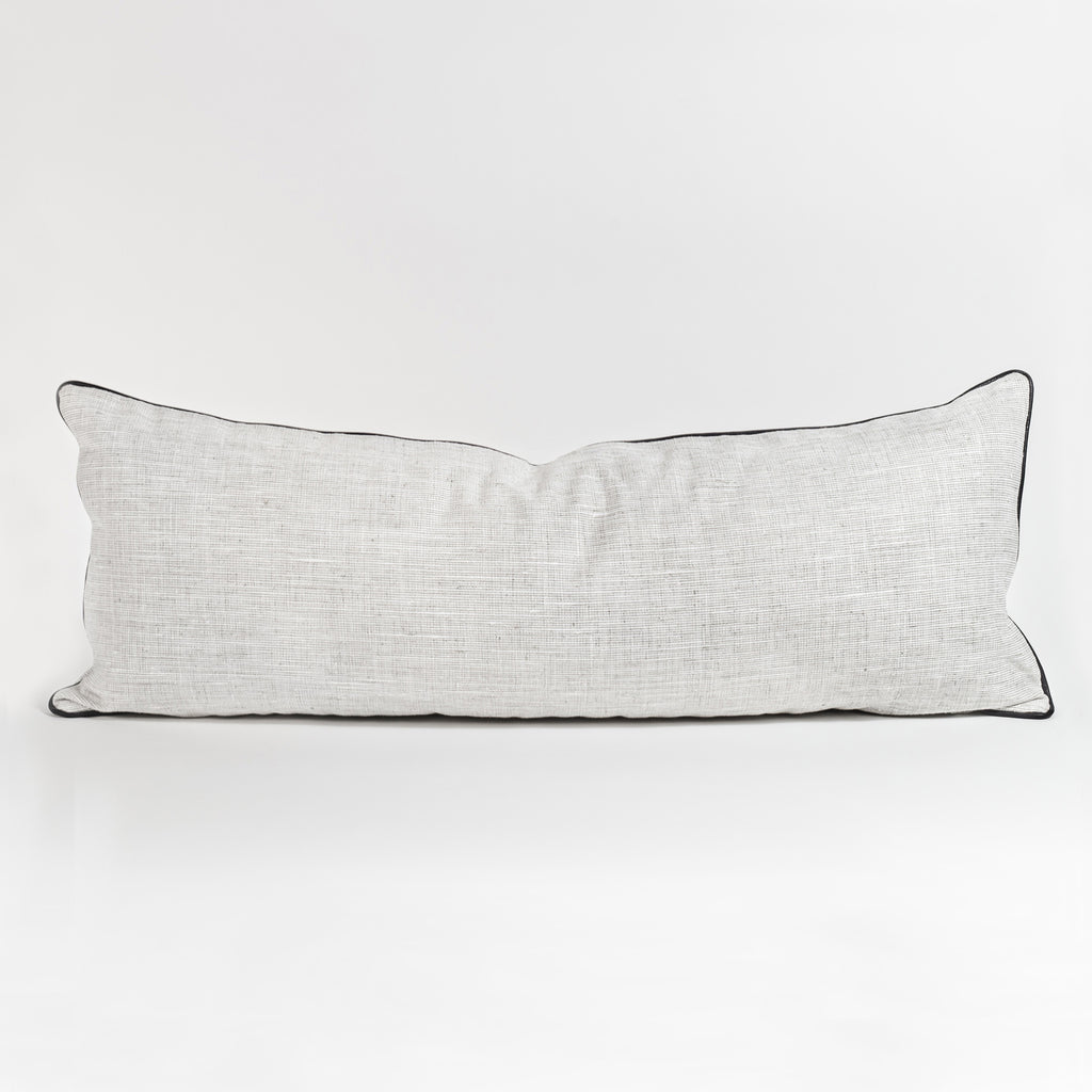 Nora light pearl gray with black piping long bolster bed pillow from Tonic Living