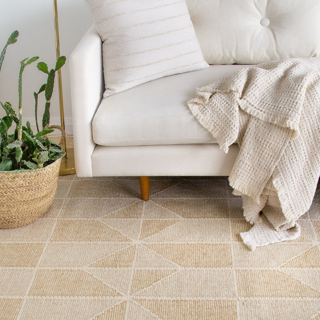 Ojai beige and cream geometric patchwork pattern  rug