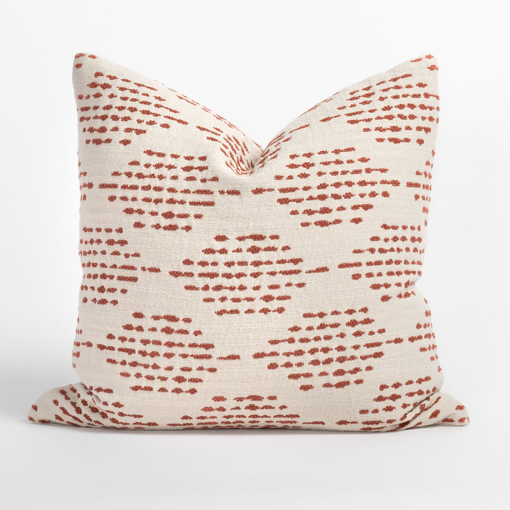 Ophelia Rust, a dotty rust red and cream indoor outdoor pillow from Tonic Living
