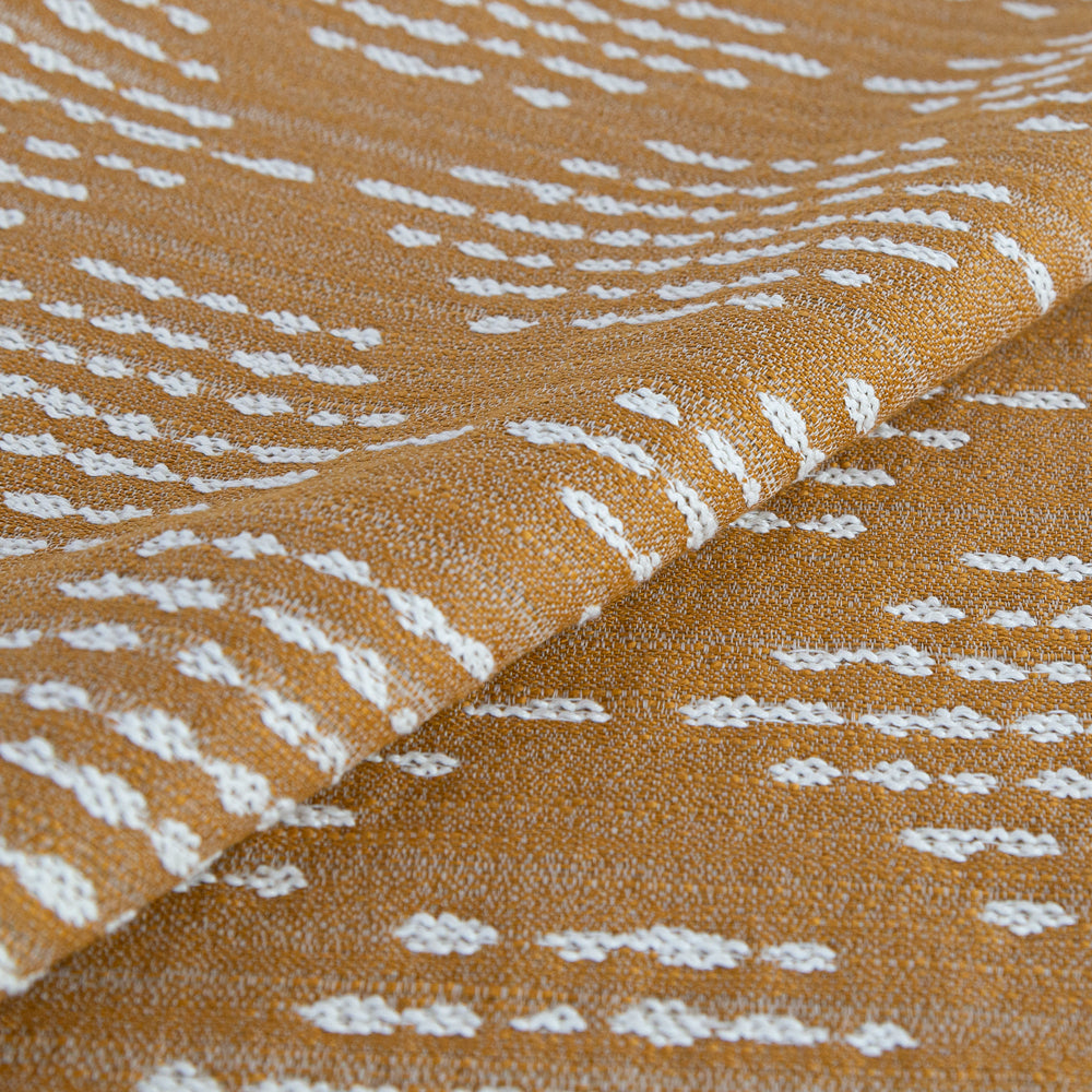 Ophelia Tumeric, a deep yellow on cream dash dot outdoor fabric from Tonic Living