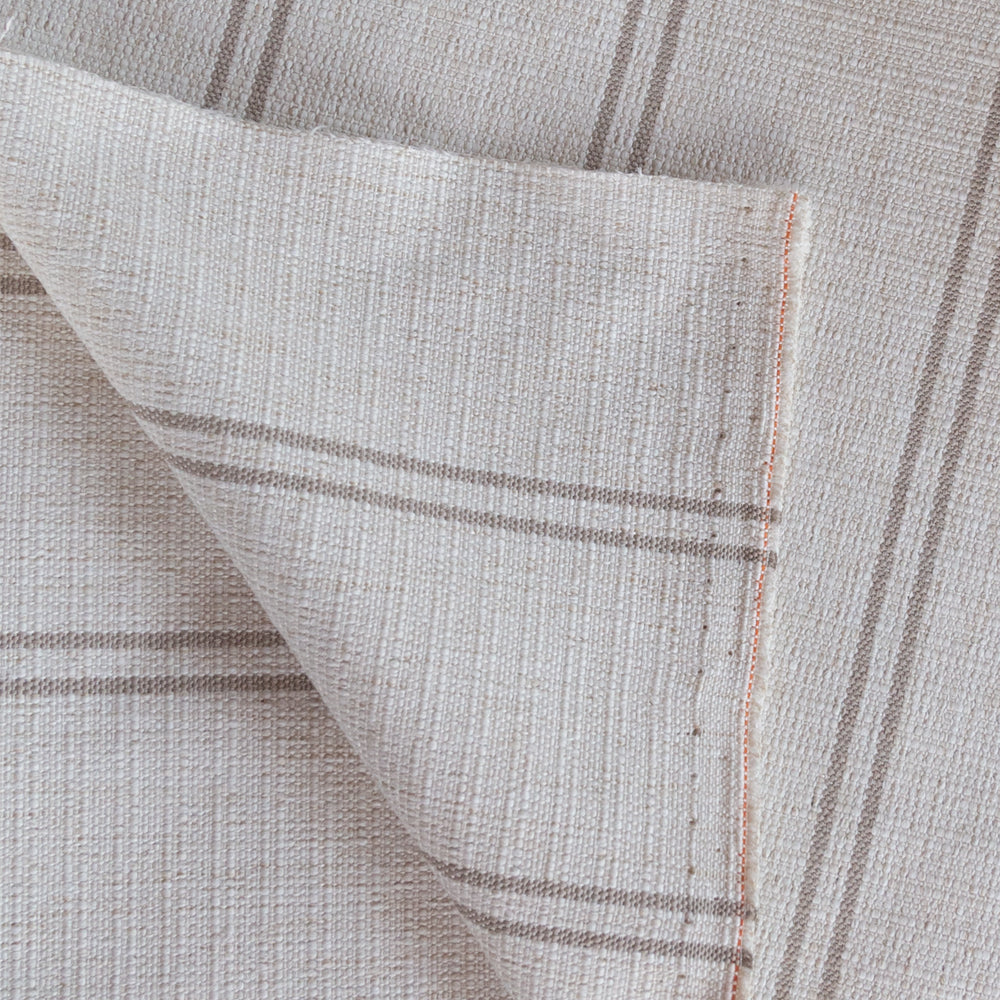 Oud Stripe Hemp, a cream and taupe stripe upholstery fabric from Tonic Living