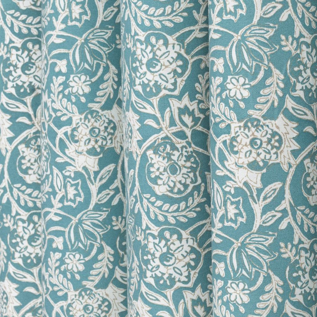Padma Aqua, an aqua blue and cream tapestry block print pattern cotton fabric