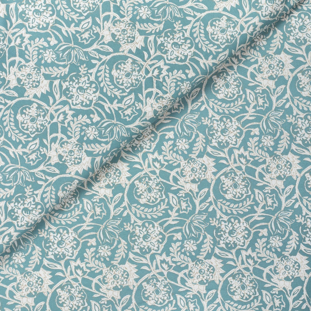 Padma Aqua, an aqua blue and cream tapestry block print pattern cotton fabric from Tonic Living