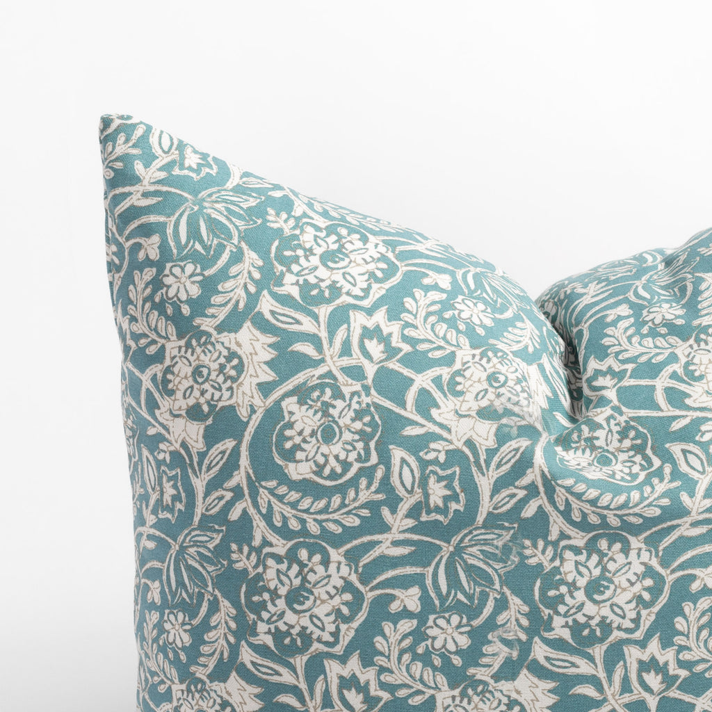 Padma 20x20 Aqua blue and cream tapestry block print pattern cotton pillow : close up corner view