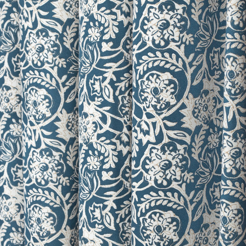 Padma Indigo, a navy blue and cream tapestry block print pattern cotton fabric