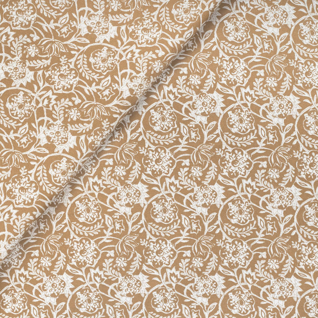 Padma Nutmeg, a caramel brown and cream tapestry block print pattern cotton fabric from Tonic Living