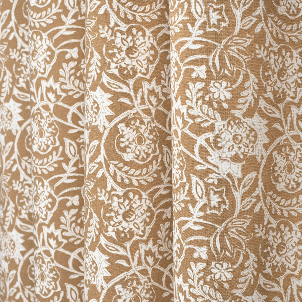 Padma Nutmeg, a caramel brown and cream tapestry block print pattern cotton fabric
