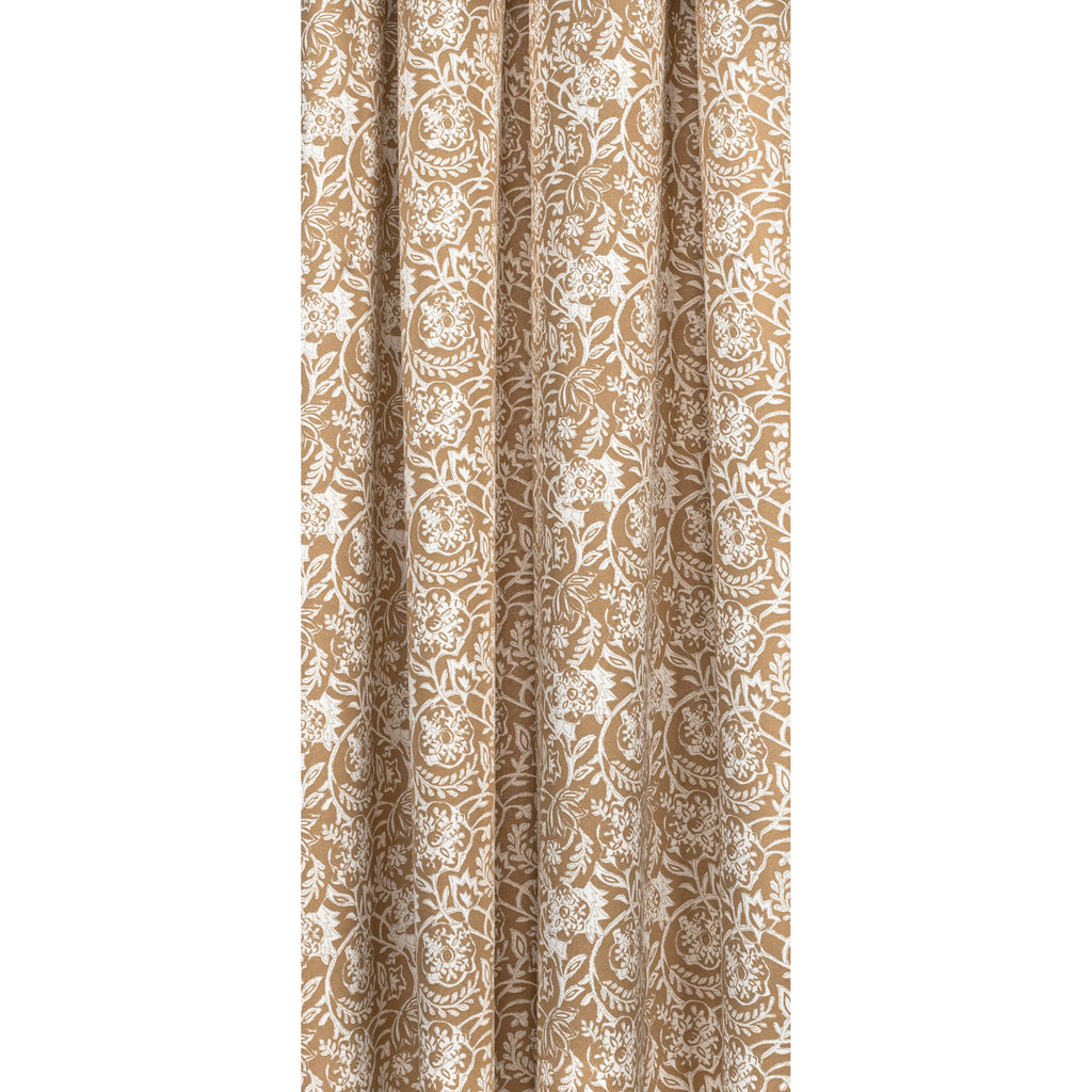 Padma Nutmeg, a caramel brown and cream tapestry block print pattern cotton fabric : draped view