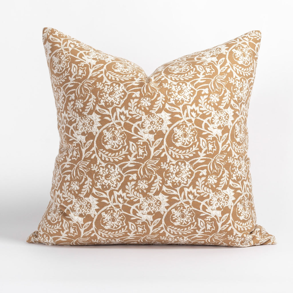 Padma 20x20 Pillow, Nutmeg, a caramel brown and cream tapestry block print style cotton pillow from Tonic Living
