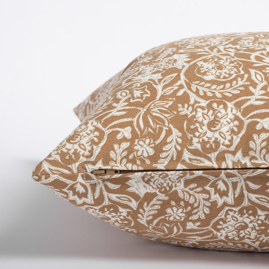 Padma 20x20 Pillow, Nutmeg, a caramel brown and cream tapestry block print pattern cotton pillow : zipper detail