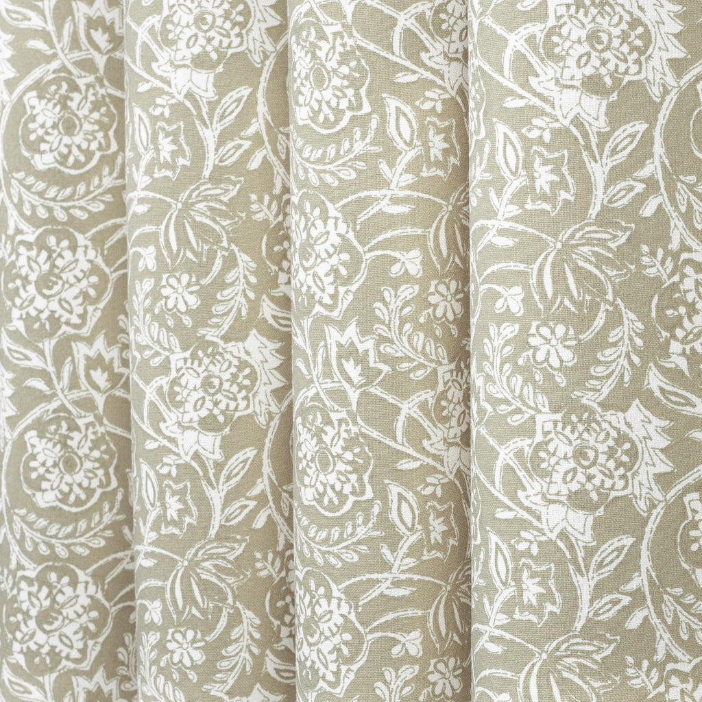 Padma Sand, a khaki beige and cream tapestry block print style cotton fabric