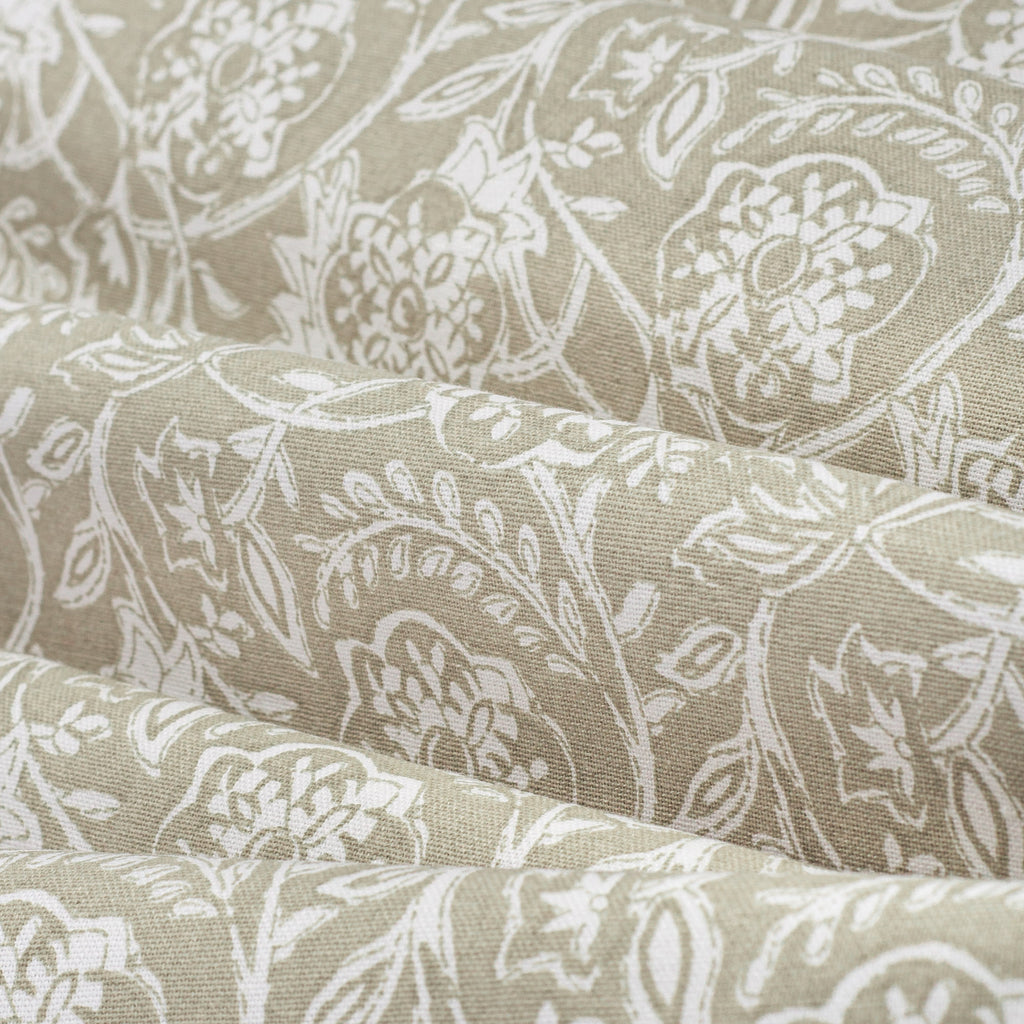 Padma Sand, a khaki beige and cream tapestry block print style cotton fabric: detailed view