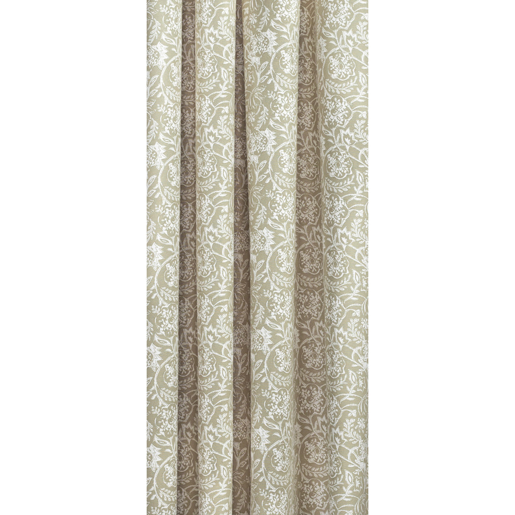 Padma Sand, a khaki beige and cream tapestry block print style cotton fabric: draped view