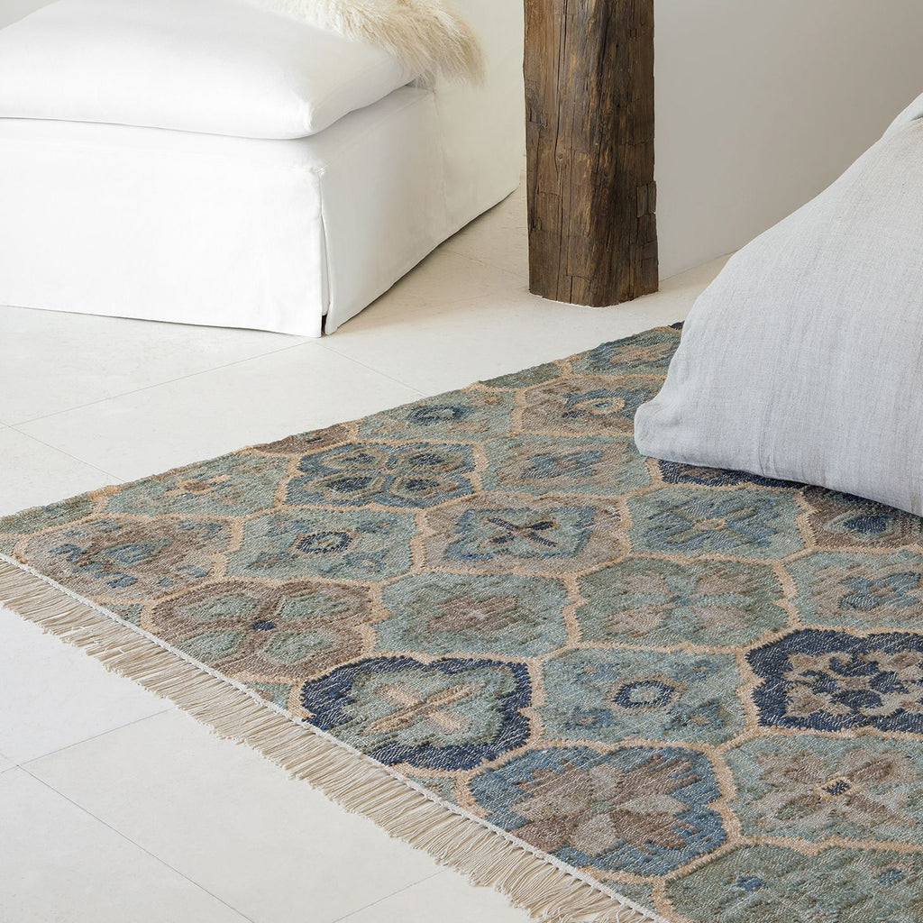 Pali Blue, a blue and neutral medallion pattern Dash and Albert jute rug