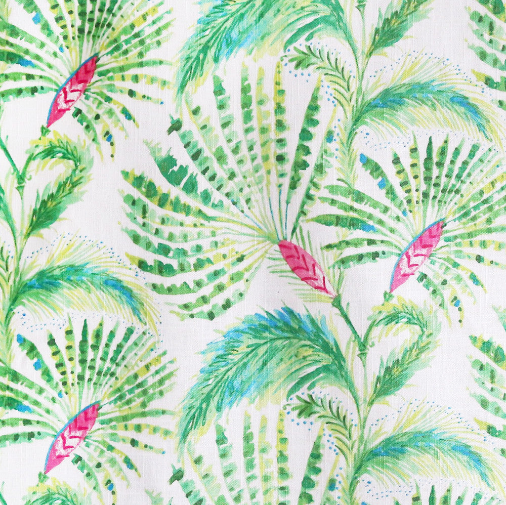 Fabric tree pattern - A Fan Palm Tree Fabric In Lime And Grass Green Hibiscus Pink And Ocean Blue