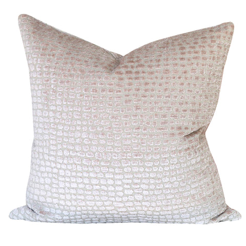 Pebble, Soft Petal - A cut velvet, crocodile print pillow in a dusty pink and natural beige.
