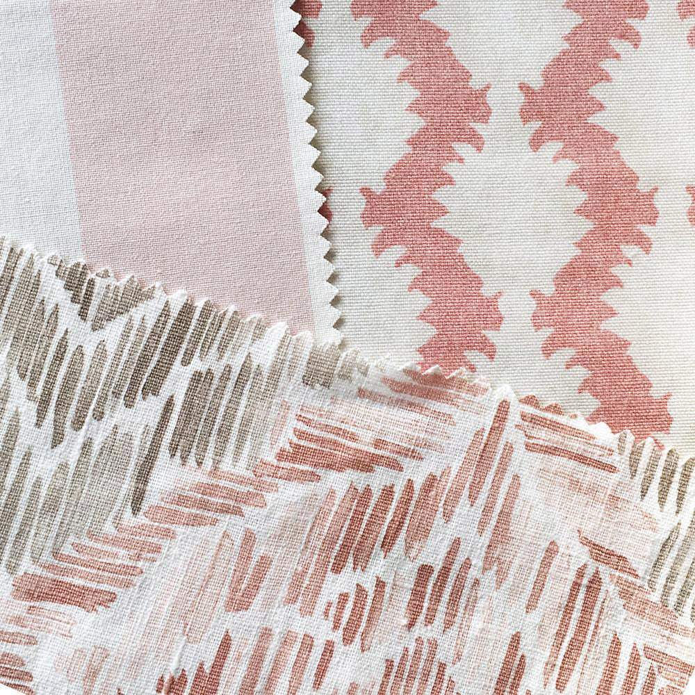 Chelsea Stripe, Powder Pink - A wide striped fabric in powder pink and white.
